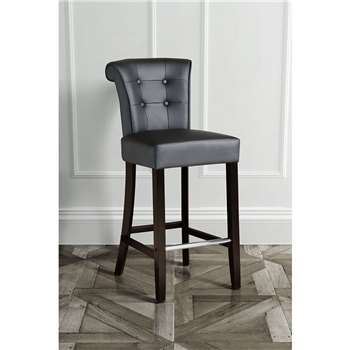 Positano Bar Stool with Back Ring - Black PU leather (109 x 48cm)