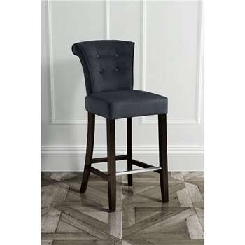 Positano Bar stool with Back Ring - Black Velvet (109 x 48cm)