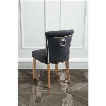 Positano Dining Chair with Back Ring - Black Velvet Natural legs (H86 x W50 x D48cm)