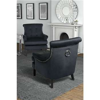 Positano Lounge Armchair - Black Velvet (80 x 90cm)
