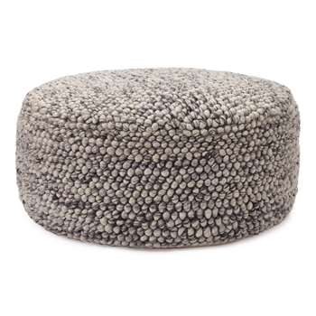 Wool Pouf Ravi, White and Grey (H28 x W65 x D65cm)