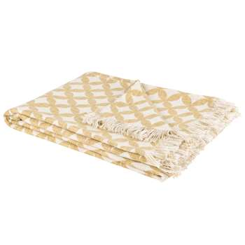 PRAIRIE White Cotton Blanket with Yellow Graphic Print (H130 x W170cm)