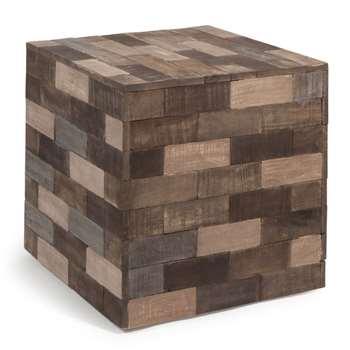 PRAJA wooden cube side table, multicoloured (41 x 41cm)