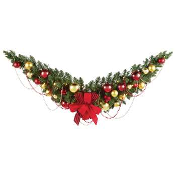 Premier Decorations 4ft White LED Gold Decorated Garland (Length 121.9cm)