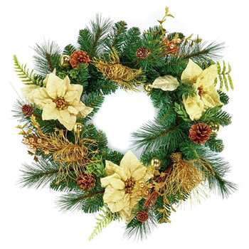 Premier Decorations Poinsettia Wreath - Gold (H50 x W50 x D11cm)