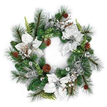 Premier Decorations Poinsettia Wreath - White (H50 x W50 x D11cm)