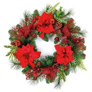 Premier Decorations Red Poinsettia Wreath (H50 x W50 x D11cm)