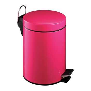 Premier Housewares 3 Litre Hot Pink Pedal Bin 26 x 17cm