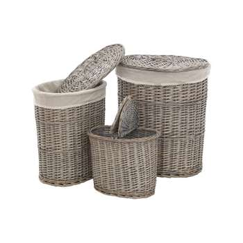 Premier Housewares Set of 3 Willow  Laundry Baskets