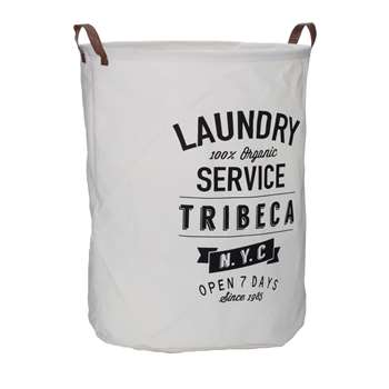 Premier Housewares Tribeca Laundry Bag - White 48 x 38cm