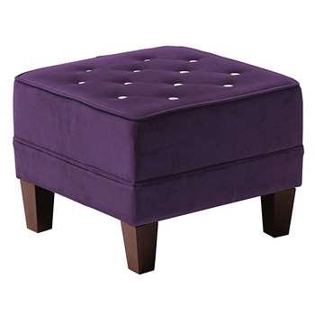 Premier Housewares Velvet Chesterfield Footstool with Diamantes - Purple