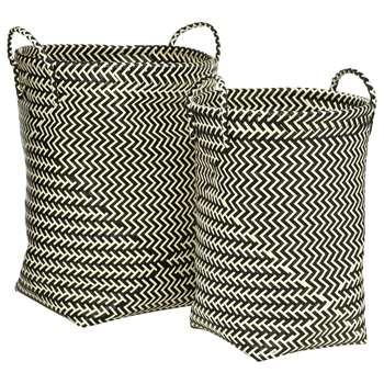 Premier Housewares Woven Laundry Baskets - Black and White 45 x 35cm