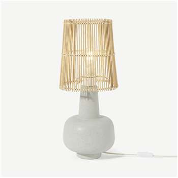 Pria Table Lamp, Reactive White & Natural (H52 x W22 x D22cm)
