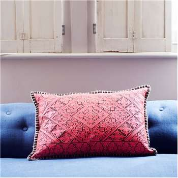 Primero Embroidered Pink Rectangular Cushion (40 x 60cm)