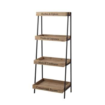 PRIMEURS - Fir Wood and Metal Ladder Shelf (H127 x W52 x D30cm)