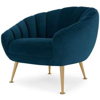 Primrose Accent Chair, Petrol Teal Velvet (H76 x W88 x D79cm)