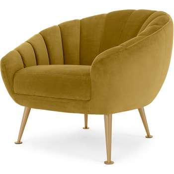 Primrose Accent Chair, Vintage Gold Velvet (H76 x W88 x D79cm)