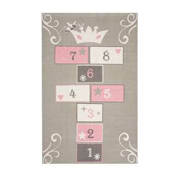 PRINCESSE cotton child's hopscotch mat in grey / pink 120 x 180cm