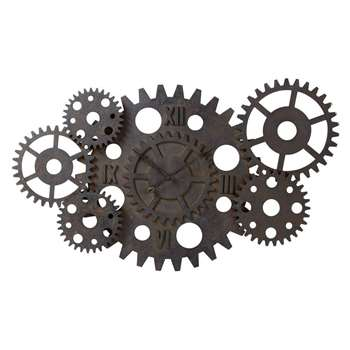 PRINCETON rust effect wood cogwheel industrial clock (Width 125cm)