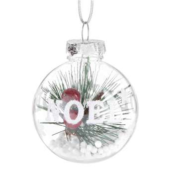Printed Glass Christmas Bauble with Christmas Tree Branch (H6 x W6 x D6cm)