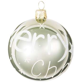 Printed Green Tinted Glass Christmas Bauble (H7 x W7 x D7cm)
