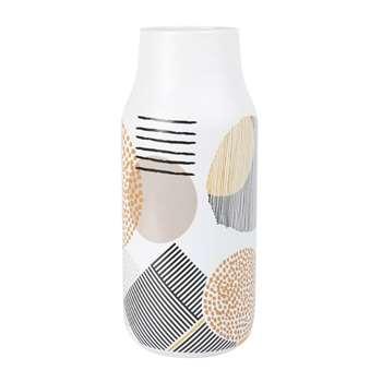 Printed Ivory Ceramic Vase (H28.2 x W11.8 x D11.8cm)