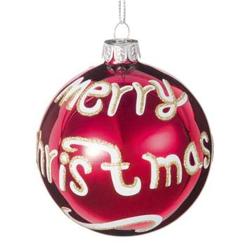 Printed Red Glass Christmas Bauble (H8 x W8 x D8cm)