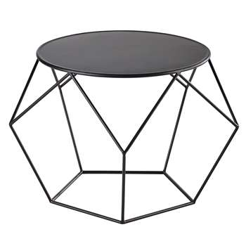 PRISM Metal round coffee table in black (44 x 64cm)