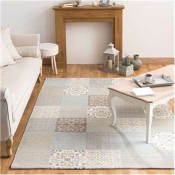 PROVENCE rug with beige and blue cement tile motifs (200 x 300cm)