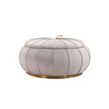 Pumpkin Storage Ottoman - Dove Grey - Brass Base (H46 x W96 x D96cm)