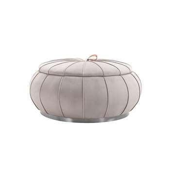 Pumpkin Storage Ottoman - Dove Grey - Silver Base (H46 x W96 x D96cm)