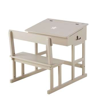 PUPITRE Child's taupe wooden desk and stool (63 x 65cm)