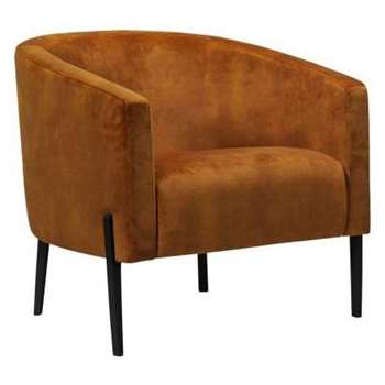 Purdy Gold Velvet Fabric Accent Chair (H73 x W74 x D73cm)
