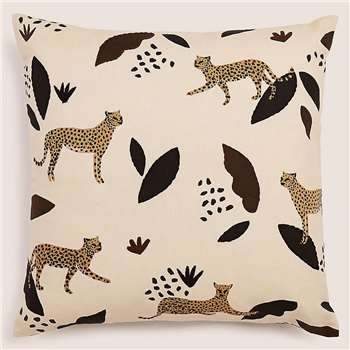 Pure Cotton Cheetah Embroidered Cushion (H45 x W45cm)