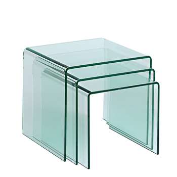 Puro glass nest of tables clear (50 x 61cm)