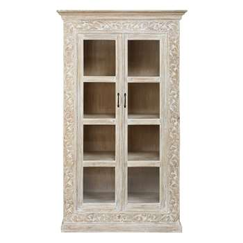 PUSHKAR Bleached solid mango wood 2-door carved display case (190 x 110cm)