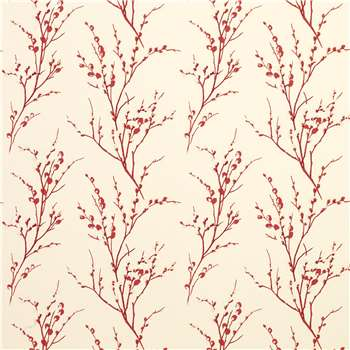 Pussy Willow Cranberry Floral Wallpaper