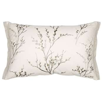 Pussy Willow Dove Grey Floral Cushion (40 x 60cm)