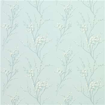 Pussy Willow Duck Egg Floral Wallpaper