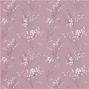 Pussy Willow Grape Floral Wallpaper