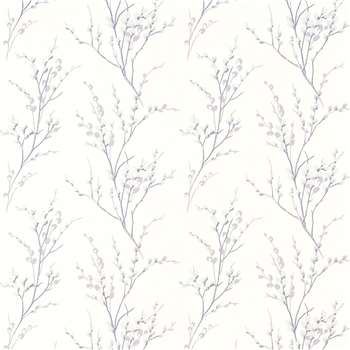 Pussy Willow Off White/Pale Iris Wallpaper