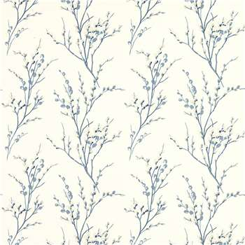 Pussy Willow Off White/Seaspray Blue Floral Wallpaper