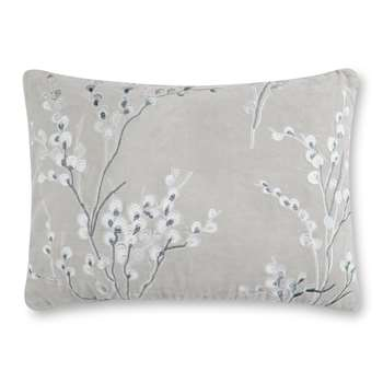 Pussywillow Embroidered Velvet Steel Cushion (35 x 50cm)
