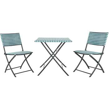 Pya Garden Bistro Set, Cadillac Blue and Black
