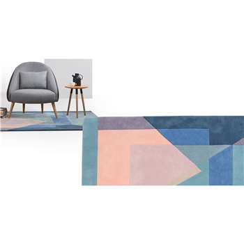 Pyramid Large Hand Tufted Wool Rug, Tonal Blue (160 x 230cm)