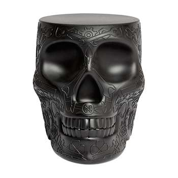 Qeeboo - Mexico Skull Stool/Side Table - Black (H45 x W38 x D53cm)