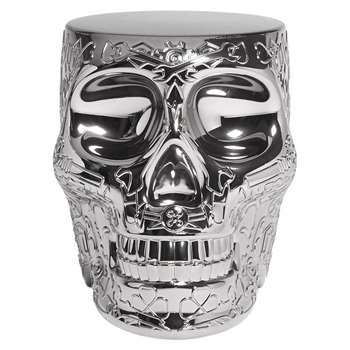 Qeeboo - Mexico Skull Stool/Side Table - Silver (H45 x W38 x D53cm)