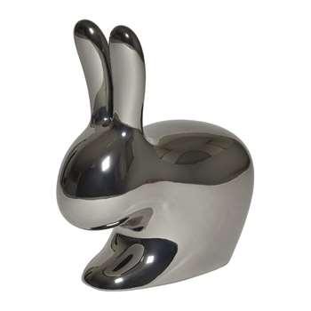 Qeeboo - Rabbit Chair - Metallic Silver - Baby (H52.7 x W47 x D26cm)