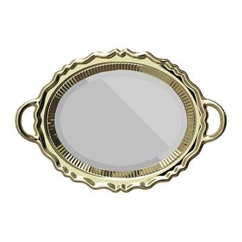 Qeeboo - Tray Wall Mirror - Gold (H76.5 x W110 x D10.5cm)
