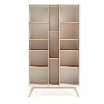 Quatre Wooden Bookcase in White & Ash (H152 x W104 x D40cm)